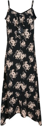 Wallis PETITE Black Floral Print Frill Camisole Dress