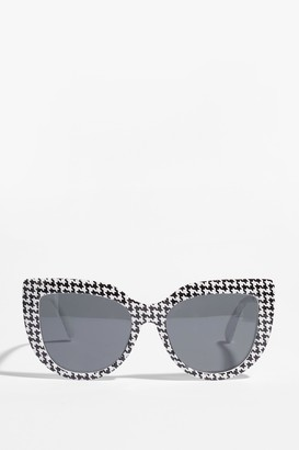 Nasty Gal Womens Now That Houndstooth You Cat-Eye Sunglasses - White - One Size