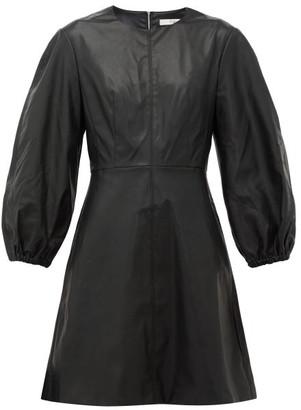 Tibi Panelled Faux-leather Mini Dress - Black