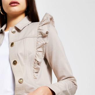 River Island Womens Cream long sleeve frill denim jacket