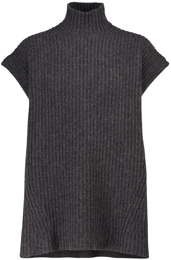Ganni Ribbed knit wool-blend top