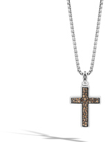 John Hardy Classic Chain Cross Necklace with Smoky Quartz