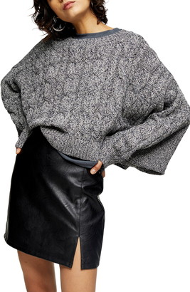 Topshop Crop Batwing Sleeve Cable Sweater