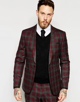 Asos Skinny Suit Jacket In Red Plaid Check