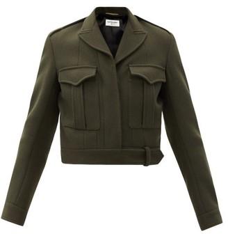 Saint Laurent Cropped Wool-twill Utility Jacket - Khaki