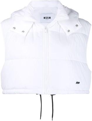 MSGM Cropped Padded Gilet