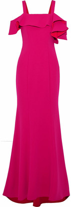 Badgley Mischka Cold-shoulder Ruffled Cady Gown