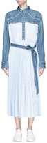 Sacai Denim yoke pleated stripe poplin maxi dress