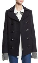 Michael Kors Double-Breasted Wool Pea Coat, Navy