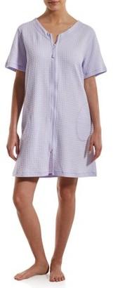 Derek Heart Women's Waffle V-Neck Zip Front Pajama Robe