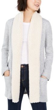 Style&Co. Style & Co Sherpa-Trim Open-Front Cardigan, Created for Macy's