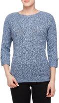 Allison Daley Petites 3/4 Cuffed Sleeve Wide Crew-Neck Sweater