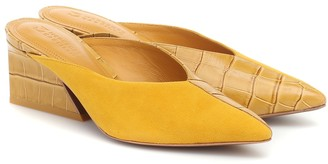 Mercedes Castillo Tayten croc-effect leather and suede mules