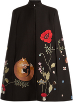 Vilshenko Adelia fox and floral-embroidered cape