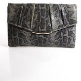 Furla Gray Snakeskin Pleated Clutch Handbag