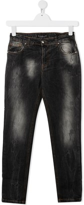 John Richmond Junior TEEN distressed dark wash jeans with logo patch