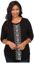 Karen Kane Plus Plus Size 3/4 Sleeve Embroidered Top