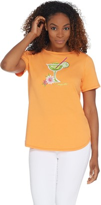 Bob Mackie Embroidered Sequin Tropical Cocktail Knit T-Shirt