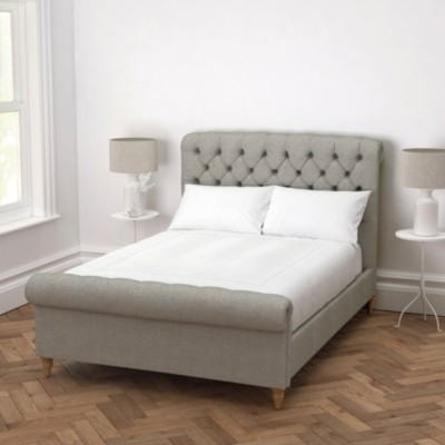 The White Company Aldwych Bed Tweed Natural Oak Leg, Tweed Mid Grey, Double
