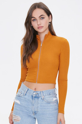 Forever 21 Ribbed Zip-Up Top