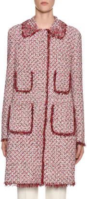 Giambattista Valli Four-Pocket Tweed Coat w/ Fringe Trim & Floral Beading