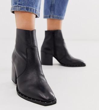 Asos Design DESIGN Wide Fit Restore leather studded block heel boots in black