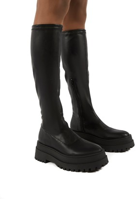 Public Desire Uk Haunt PU Knee High Chunky Sole Boots