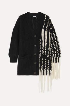 Loewe Fringed Wool-blend Cardigan - Black