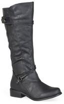 Women's Journee Collection Wide Calf Ankle Strap Buckle Knee-High Riding Boots
