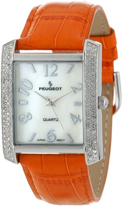 Peugeot Women's Square Silver-Tone Crystal Bezel Leather Strap Watch 325OR