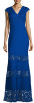 Tadashi Shoji Cap-Sleeve Pintucked Lace-Panel Gown