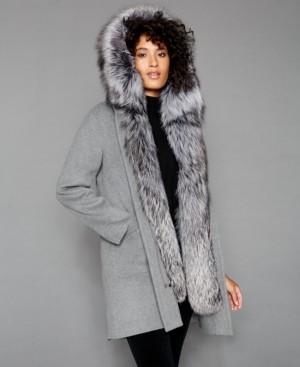 The Fur Vault Fox-Fur-Trim Hooded Parka Coat