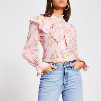 River Island Womens Pink floral ruffle blouse
