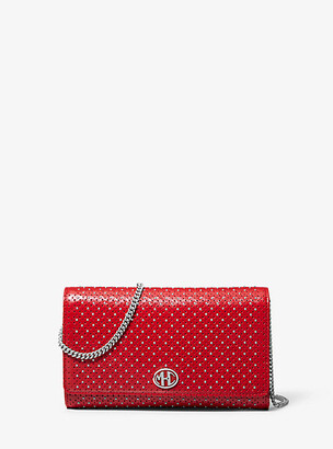 Michael Kors Monogramme Studded Leather Chain Wallet - Black