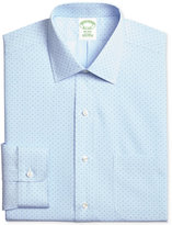 Brooks Brothers Brooks Brother's Mens Milano Fitted Non-Iron Light Blue Dot Dress Shirt