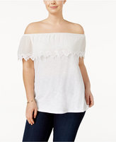 MICHAEL Michael Kors Size Off-The-Shoulder Ruffle Top