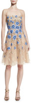 Naeem Khan Floral-Appliqué Illusion Cocktail Dress. Gold/Blue