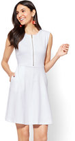 New York & Co. Cotton Zip-Front Fit and Flare Dress