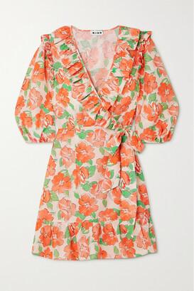 Rixo Lennon Ruffled Floral-print Cotton And Silk-blend Mini Wrap Dress - Orange