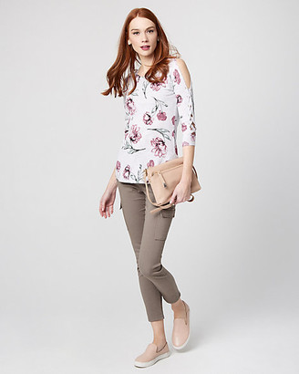 Le Château Floral Cotton Blend Lace-Up Sleeve Sweater