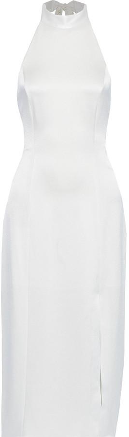 Alice + Olivia Regina Halterneck Satin Midi Dress