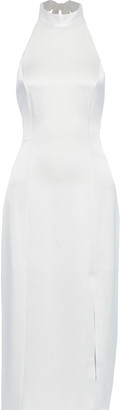 Alice + Olivia Regina Satin-crepe Halterneck Midi Dress