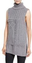 Derek Lam 10 Crosby Sleeveless Oversized Turtleneck Sweater, Gray Melange