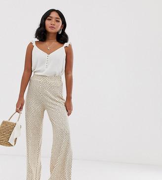 Asos DESIGN Petite wide leg trouser in neutral non-print-Multi
