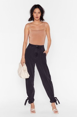 Nasty Gal Womens High-Waisted Balloon Jeans with Ankles Tie Closure - Black
