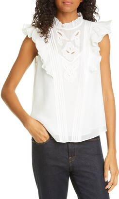 Rebecca Taylor Hana Embroidered Ruffle Sleeve Silk Top