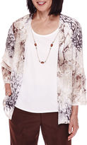 Alfred Dunner 3/4-Sleeve Floral-Print Layered Top with Necklace