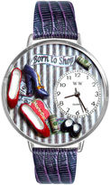 Whimsical Watches Personalized Shoe Lover Womens Silver-Tone Bezel Purple Leather Strap Watch