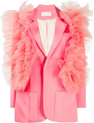 Loulou Tulle-Trim Single-Breasted Blazer
