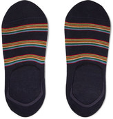 Paul Smith Striped Stretch Cotton-blend No-show Socks - Navy